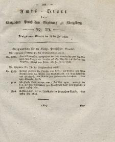 Amts-Blatt der Königlichen Preußischen Regierung zu Königsberg, Mittwoch, 21. Juli 1830, Nr. 29