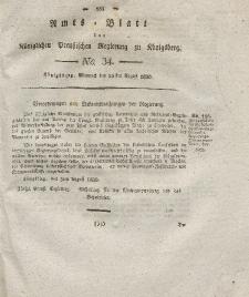 Amts-Blatt der Königlichen Preußischen Regierung zu Königsberg, Mittwoch, 25. August 1830, Nr. 34