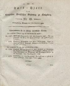 Amts-Blatt der Königlichen Preußischen Regierung zu Königsberg, Mittwoch, 1. Dezember 1830, Nr. 48