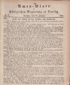 Amts-Blatt der Königlichen Regierung zu Danzig, 16. Januar 1867, Nr. 3