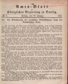 Amts-Blatt der Königlichen Regierung zu Danzig, 30. Januar 1867, Nr. 5