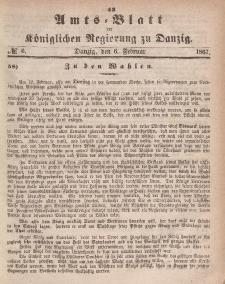 Amts-Blatt der Königlichen Regierung zu Danzig, 6. Februar 1867, Nr. 6
