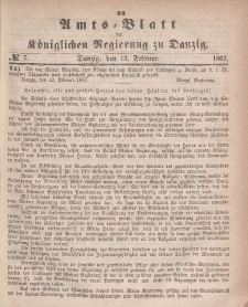 Amts-Blatt der Königlichen Regierung zu Danzig, 13. Februar 1867, Nr. 7