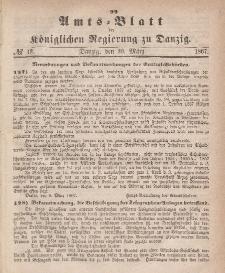 Amts-Blatt der Königlichen Regierung zu Danzig, 20. März 1867, Nr. 12