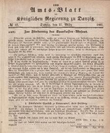 Amts-Blatt der Königlichen Regierung zu Danzig, 27. März 1867, Nr. 13