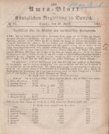 Amts-Blatt der Königlichen Regierung zu Danzig, 24. April 1867, Nr. 17