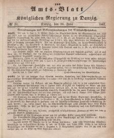 Amts-Blatt der Königlichen Regierung zu Danzig, 19. Juni 1867, Nr. 25