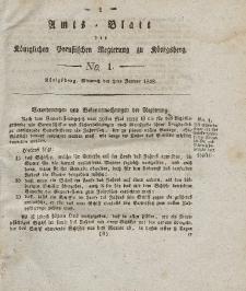Amts-Blatt der Königlichen Preußischen Regierung zu Königsberg, Mittwoch, 2. Januar 1828, Nr. 1