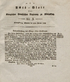 Amts-Blatt der Königlichen Preußischen Regierung zu Königsberg, Mittwoch, 16. Januar 1828, Nr. 3