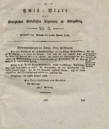 Amts-Blatt der Königlichen Preußischen Regierung zu Königsberg, Mittwoch, 30. Januar 1828, Nr. 5
