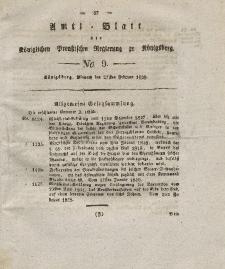 Amts-Blatt der Königlichen Preußischen Regierung zu Königsberg, Mittwoch, 27. Februar 1828, Nr. 9