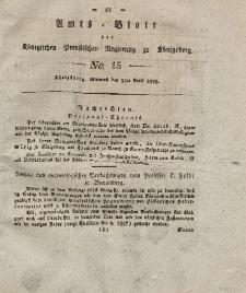 Amts-Blatt der Königlichen Preußischen Regierung zu Königsberg, Mittwoch, 9. April 1828, Nr. 15