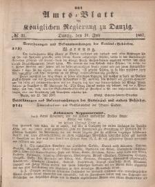 Amts-Blatt der Königlichen Regierung zu Danzig, 31. Juli 1867, Nr. 31