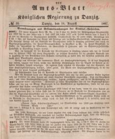Amts-Blatt der Königlichen Regierung zu Danzig, 14. August 1867, Nr. 33