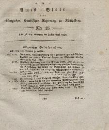 Amts-Blatt der Königlichen Preußischen Regierung zu Königsberg, Mittwoch, 30. April 1828, Nr. 18