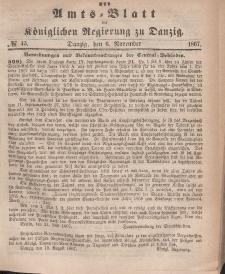 Amts-Blatt der Königlichen Regierung zu Danzig, 6. November 1867, Nr. 45