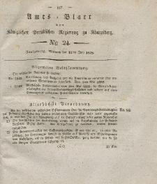Amts-Blatt der Königlichen Preußischen Regierung zu Königsberg, Mittwoch, 11. Juni 1828, Nr. 24