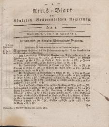Amts-Blatt der Königlich Westpreußischen Regierung zu Marienwerder, 7. Januar 1814, No. 1.