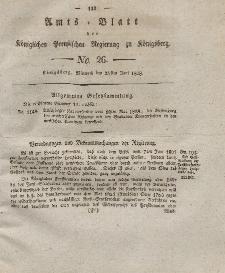 Amts-Blatt der Königlichen Preußischen Regierung zu Königsberg, Mittwoch, 25. Juni 1828, Nr. 26