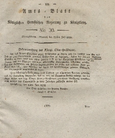 Amts-Blatt der Königlichen Preußischen Regierung zu Königsberg, Mittwoch, 23. Juli 1828, Nr. 30