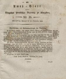 Amts-Blatt der Königlichen Preußischen Regierung zu Königsberg, Mittwoch, 3. September 1828, Nr. 36