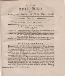 Amts-Blatt der Königlich Westpreußischen Regierung zu Marienwerder, 18. Februar 1814, No. 7.