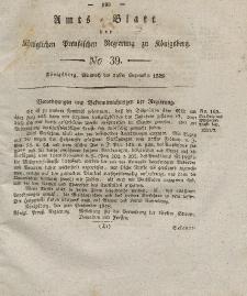 Amts-Blatt der Königlichen Preußischen Regierung zu Königsberg, Mittwoch, 24. September 1828, Nr. 39