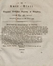 Amts-Blatt der Königlichen Preußischen Regierung zu Königsberg, Mittwoch, 1. Oktober 1828, Nr. 40