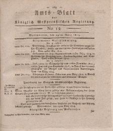 Amts-Blatt der Königlich Westpreußischen Regierung zu Marienwerder, 25. März 1814, No. 12.