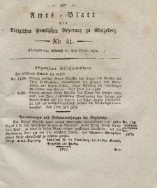 Amts-Blatt der Königlichen Preußischen Regierung zu Königsberg, Mittwoch, 8. Oktober 1828, Nr. 41