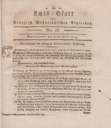 Amts-Blatt der Königlich Westpreußischen Regierung zu Marienwerder, 22. April 1814, No. 16.