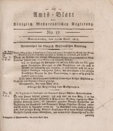 Amts-Blatt der Königlich Westpreußischen Regierung zu Marienwerder, 29. April 1814, No. 17.