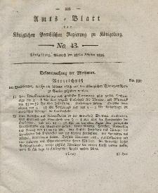Amts-Blatt der Königlichen Preußischen Regierung zu Königsberg, Mittwoch, 22. Oktober 1828, Nr. 43