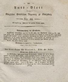 Amts-Blatt der Königlichen Preußischen Regierung zu Königsberg, Mittwoch, 29. Oktober 1828, Nr. 44