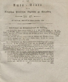 Amts-Blatt der Königlichen Preußischen Regierung zu Königsberg, Mittwoch, 19. November 1828, Nr. 47