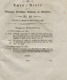 Amts-Blatt der Königlichen Preußischen Regierung zu Königsberg, Mittwoch, 26. November 1828, Nr. 48