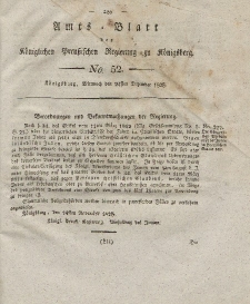 Amts-Blatt der Königlichen Preußischen Regierung zu Königsberg, Mittwoch, 24. Dezember 1828, Nr. 52