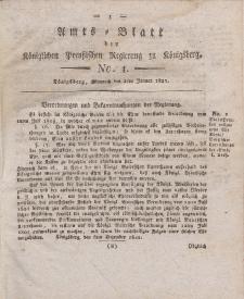 Amts-Blatt der Königlichen Preußischen Regierung zu Königsberg, Mittwoch, 2. Januar 1822, Nr. 1