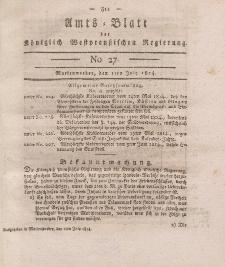 Amts-Blatt der Königlich Westpreußischen Regierung zu Marienwerder, 1. Juli 1814, No. 27.