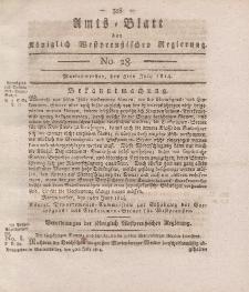 Amts-Blatt der Königlich Westpreußischen Regierung zu Marienwerder, 8. Juli 1814, No. 28.
