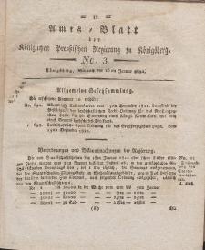 Amts-Blatt der Königlichen Preußischen Regierung zu Königsberg, Mittwoch, 16. Januar 1822, Nr. 3