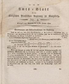 Amts-Blatt der Königlichen Preußischen Regierung zu Königsberg, Mittwoch, 23. Januar 1822, Nr. 4
