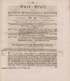 Amts-Blatt der Königlich Westpreußischen Regierung zu Marienwerder, 12. August 1814, No. 33.
