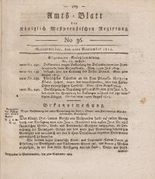 Amts-Blatt der Königlich Westpreußischen Regierung zu Marienwerder, 2. September 1814, No. 36.