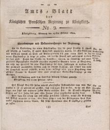 Amts-Blatt der Königlichen Preußischen Regierung zu Königsberg, Mittwoch, 27. Februar 1822, Nr. 9