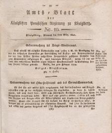 Amts-Blatt der Königlichen Preußischen Regierung zu Königsberg, Mittwoch, 6. März 1822, Nr. 10