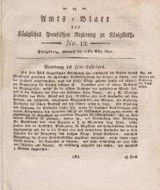 Amts-Blatt der Königlichen Preußischen Regierung zu Königsberg, Mittwoch, 20. März 1822, Nr. 12