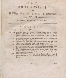 Amts-Blatt der Königlichen Preußischen Regierung zu Königsberg, Mittwoch, 27. März 1822, Nr. 13