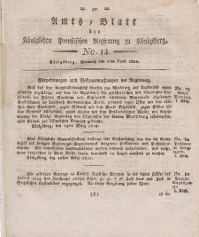 Amts-Blatt der Königlichen Preußischen Regierung zu Königsberg, Mittwoch, 3. April 1822, Nr. 14
