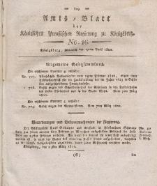 Amts-Blatt der Königlichen Preußischen Regierung zu Königsberg, Mittwoch, 17. April 1822, Nr. 16